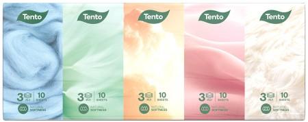 Tento Natural Soft papírzsebkendő, 3 rétegű, 10x10 db/csomag