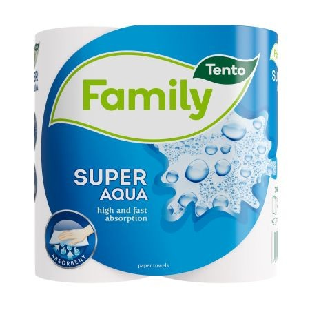 Tento Super Aqua háztartási papírtörlő/kéztörlő, 2 rétegű, fehér, 44 lapos, 100% cellulóz, 2 tekercs/csomag