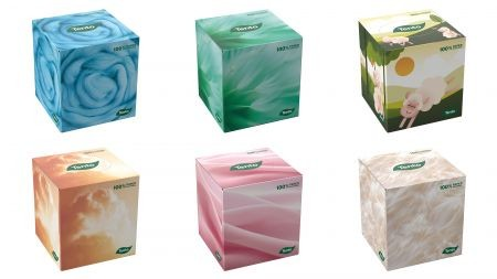Tento Cubebox papírzsebkendő/kozmetikai kendő, 3 rétegű, 58 kendő/doboz