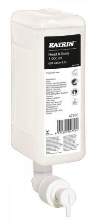 47550 Katrin New Head & Body Shower Gel, tusfürdő és sampon 1000 ml, 6 db/karton